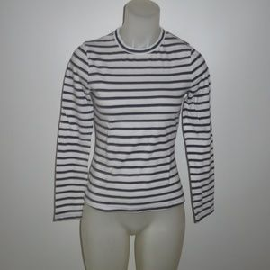 A.L.C. WHITE/NAVY BLUE STRIPED LONG SLEEVE TEE S